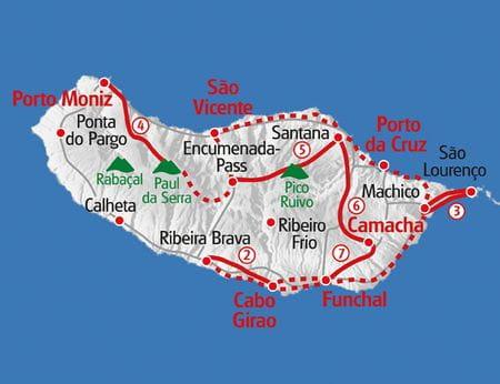Karte Wandern Madeira