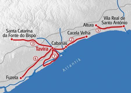 Wandern Algarve Karte
