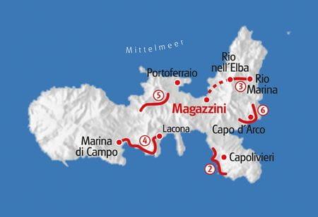 Karte Wandern Elba
