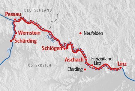 Donauradweg Schaerding nach Linz Karte