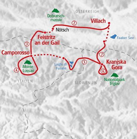 Wandern Alpe Adria Villach Karte