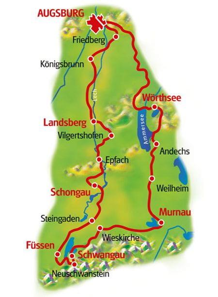 Karte Romantische Straße & Bayerische Seen