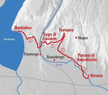 Wandern von Verona zum Gardasee Karte