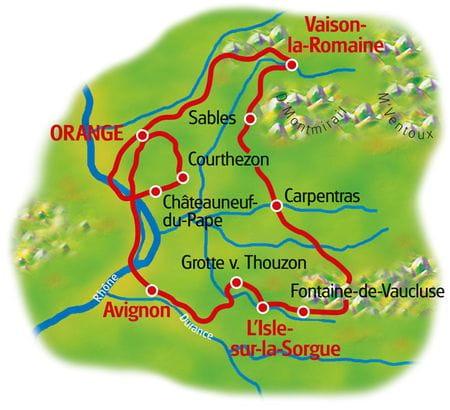 Karte Provence Rundfahrt