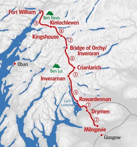 Wandern West Highland Way Karte