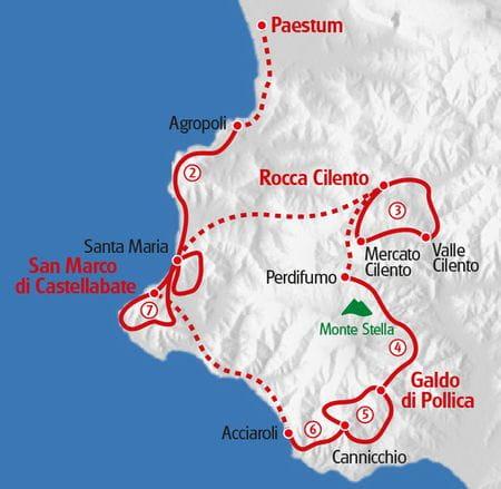 Küstenwandern Cilento Karte