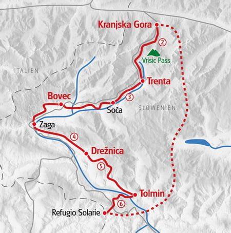 Karte Eurohike Alpe Adria Trail Slowenien