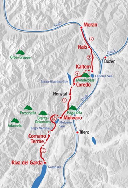 Walking Meran - Lake Garda map
