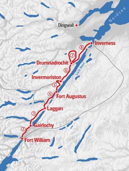 Wandern Great Glen Way Karte