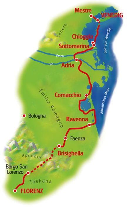 Map Venice - Florence