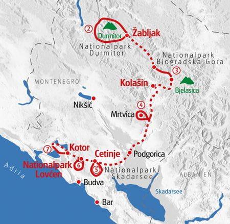 Wandern Montenegro Karte