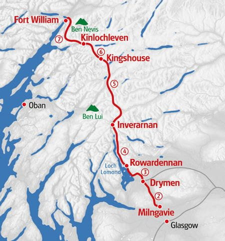 Hiking West Highland Way map