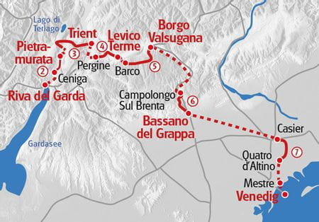 Wandern vom Gardasee nach Venedig Karte