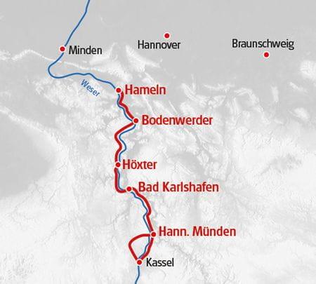 Weser Radweg Karte