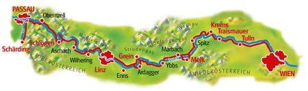 Karte Donau-Radweg