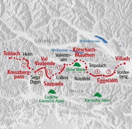 Wandern Karnischer Höhenweg Karte