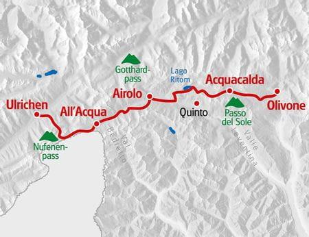 Karte Alpenpässeweg Olivone - Ulrichen 2019