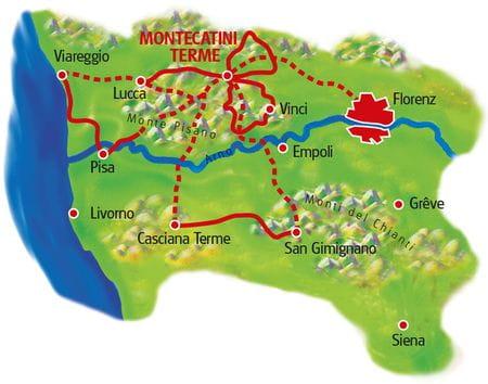 Karte Toskana Sternfahrt