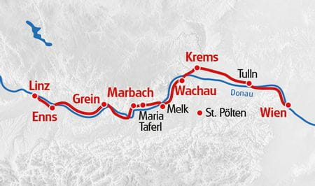 Donauradweg Linz - Wien Karte