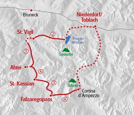 Dolomiten Hoehenweg Wanderung Karte