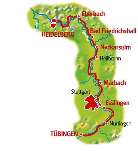 Karte Neckar-Radweg