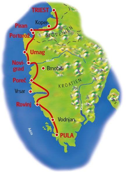 Karte Istrien