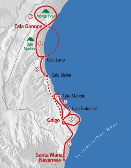 Wandern Sardinien Ostküste Karte