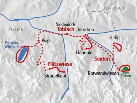 Wanderreise Dolomiten Karte