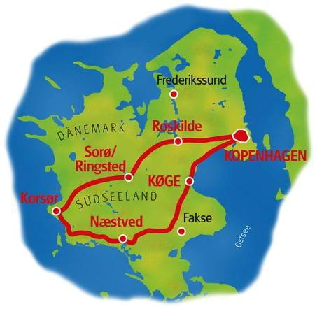 Karte Seeland Rundreise