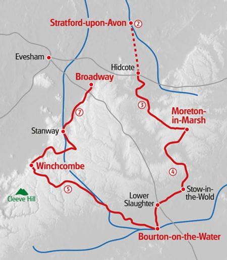 Wandern Cotswolds Karte