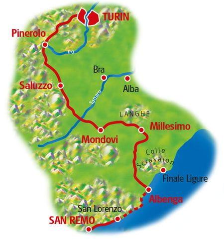 Karte Turin - San Remo