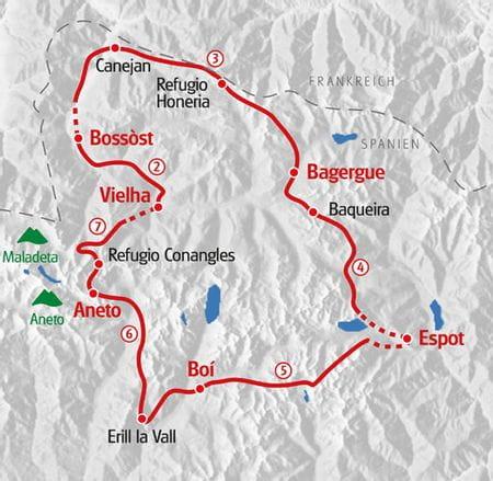 Wandern Pyrenaeen Karte