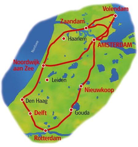 Karte Höhepunkte der Niederlande