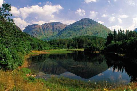 Panoramablick auf Berge hinter einem See