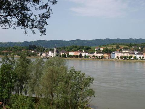 Blick auf Dorf an der Donau