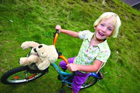 Mädchen mit dem Rad und ihrem Plüschhund