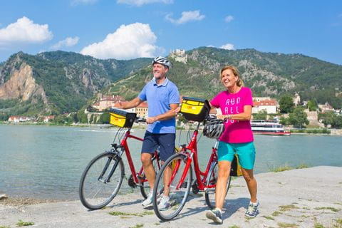 Cyclists on the Danube river