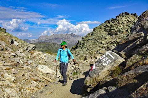 Wanderin in den französischen Alpen
