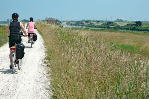 Cyclists on a cycle path through Venezia