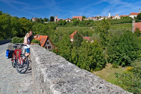 Radfahrer in Rothenburg ob der Tauber