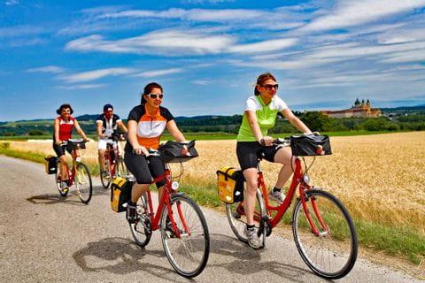 Radfahrer auf dem Weg nach Wien