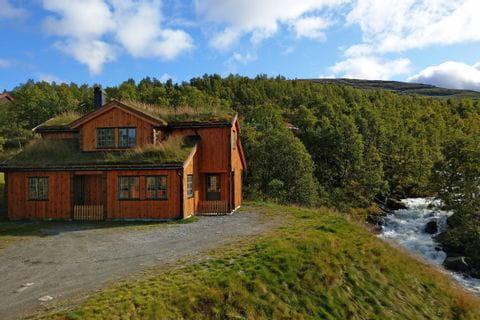 Typisch norwegische Hütte neben einem Fluss gelegen, Wandern im Nationalpark