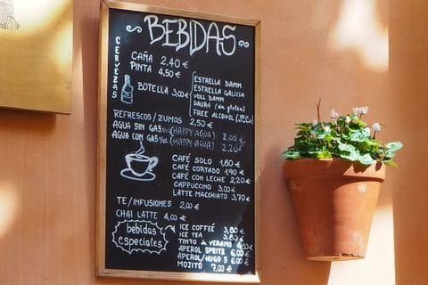 Getränkekarte von einem Restaurant in Palma