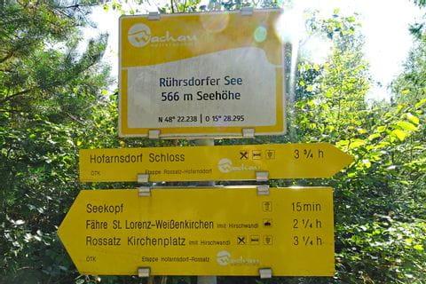 Wanderwegschild am Welterbesteig Wachau