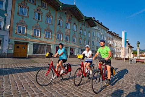 Radfahrer im Zentrum von Bad Tölz