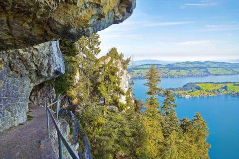 Wanderweg mit Blick auf den Vierwaldstättersee