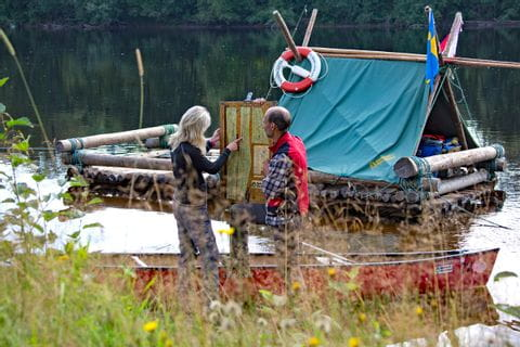 Vorbereitungen für die Flossfahrt in Schweden