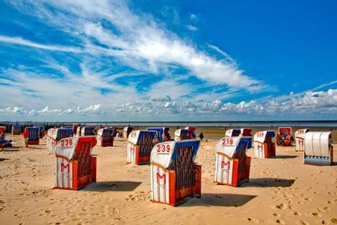 Strandkörbe am Strand in Cuxhaven