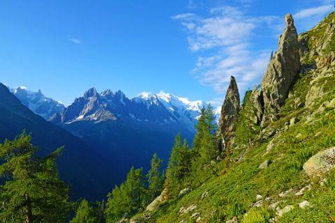 Berghang mit Blick auf den Mont Blanc