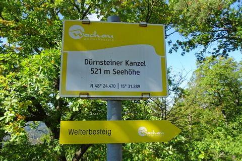 Wanderwegschild auf der Wanderreise Wachau